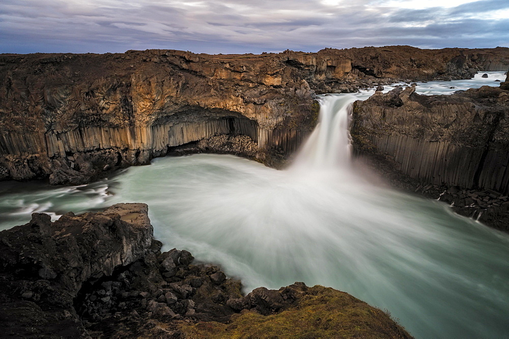 Cloudy atmosphere at the waterfall Aldeyarfoss, Northern Iceland, Iceland, Europe