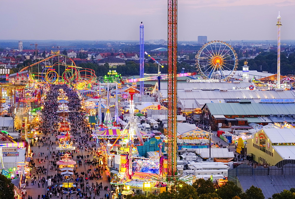View over the Oktoberfest, Wiesn, Munich, Upper Bavaria, Bavaria, Germany, Europe