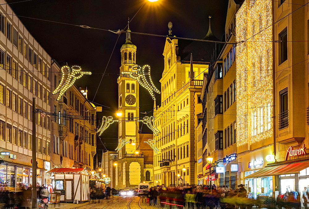 Christmas illuminated Maximilianstrasse at Christmas time, Perlach Tower and Town Hall, at night, Augsburg, Swabia, Bavaria, Germany, Europe