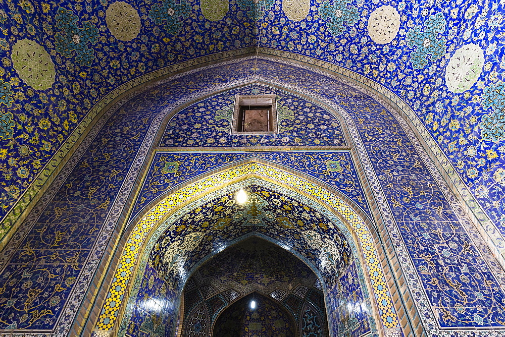 Inside Masjed-e Shah or Shah Mosque, Naqsh-e Jahan or Imam Square, Esfahan, Iran, Asia - 832-378884