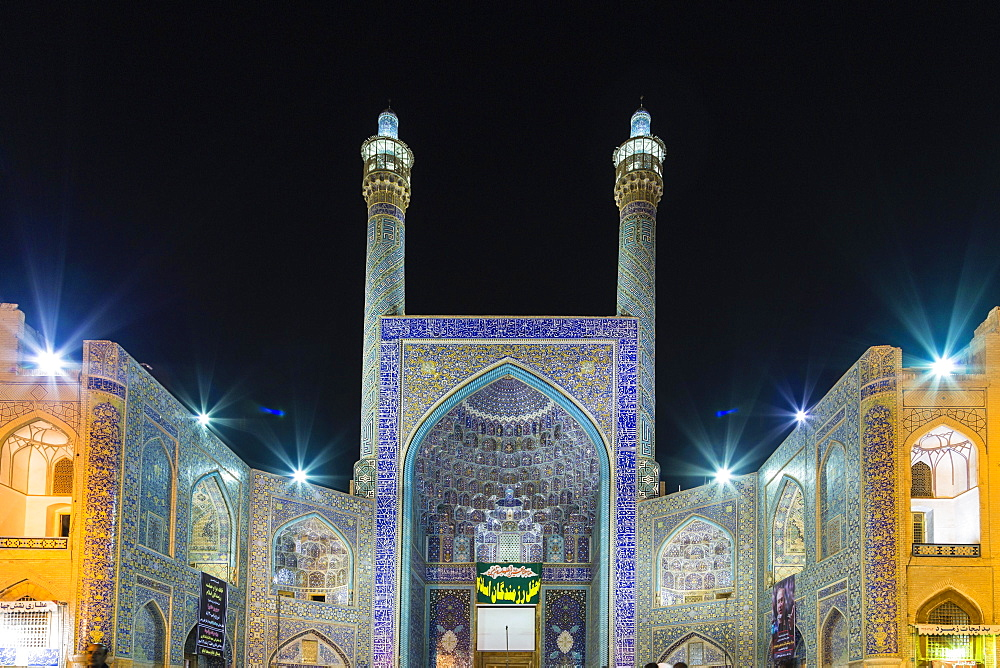 Masjed-e Shah or Shah Mosque at night, Naqsh-e Jahan or Imam Square, Esfahan, Iran, Asia