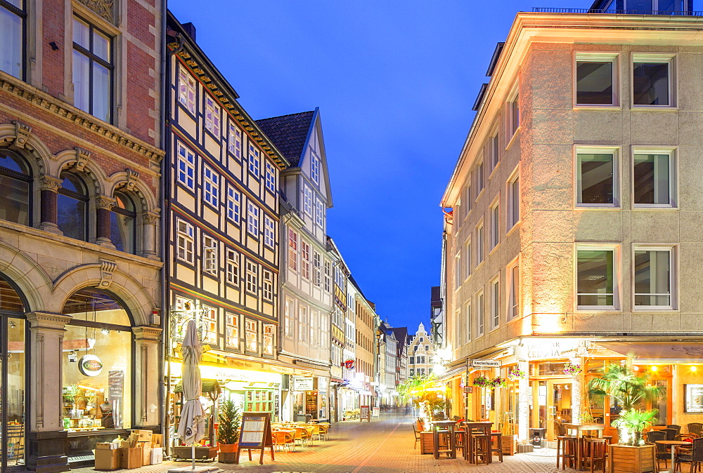 Half-timbered houses in the Kramerstrasse, Old Town, evening twilight, Hanover, Lower Saxony, Germany, Europe