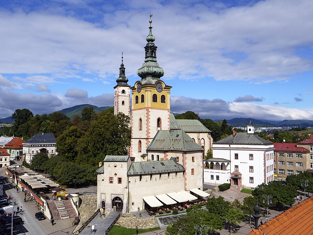 City panorama with city castle, town tower, Marienkirche and art gallery, Banska Bystrica, Banska Bystrica, Banskobystricky kraj, Slovakia, Europe