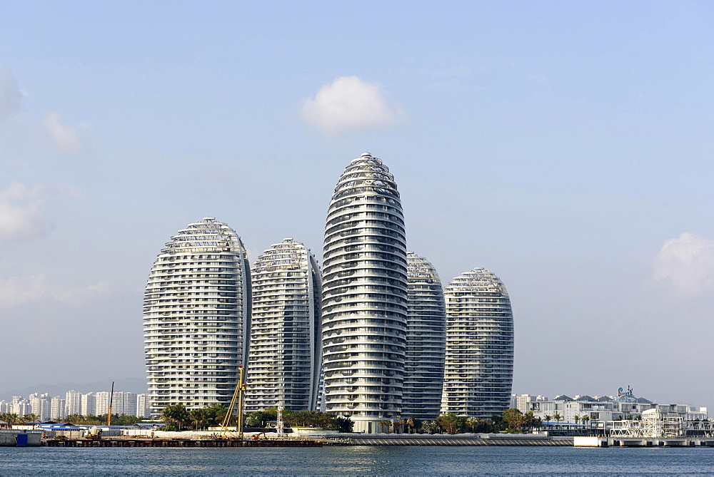 Modern high-rise buildings at the harbour, Sanya, island of Hainan, China, Asia - 832-378916