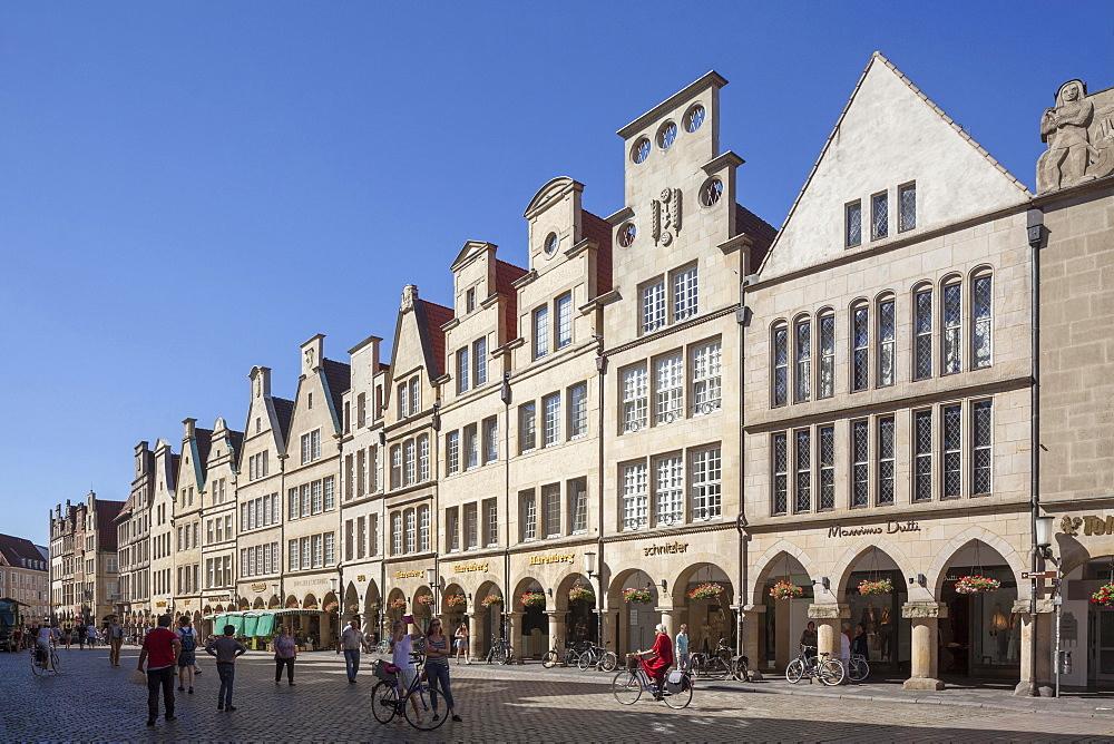 Gabled houses, Prinzipalmarkt, Munster, North Rhine-Westphalia, Germany, Europe