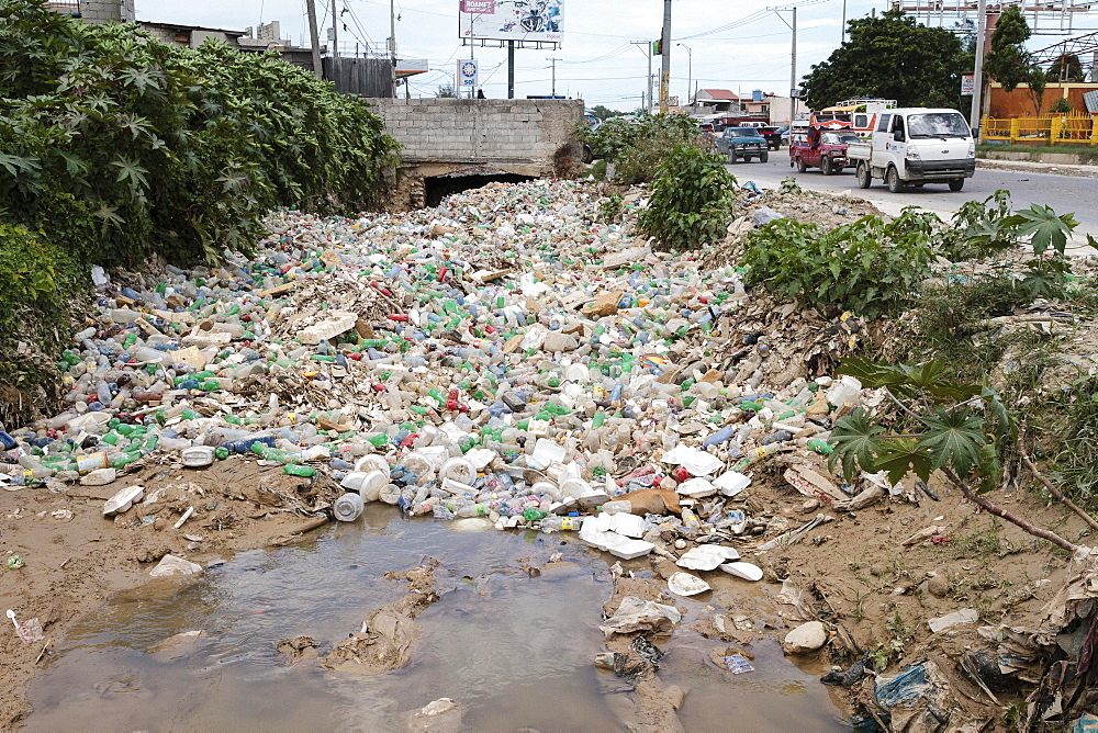 Plastic waste, plastic bottle, street garbage, Port-au-Prince, Ouest, Haiti, Central America