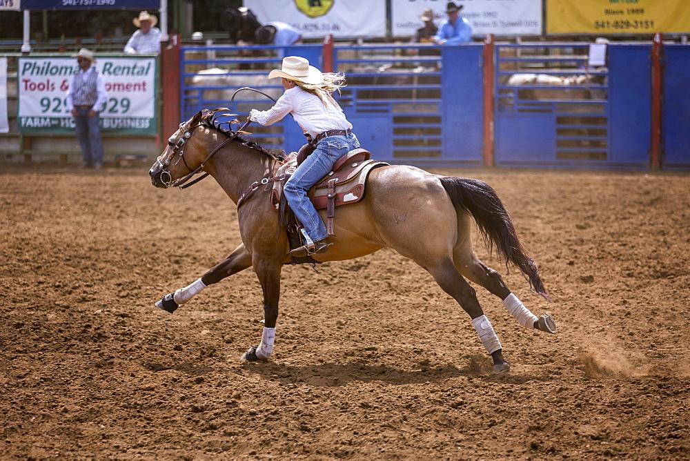 Cowgirl in barrel racing, Philomath Rodeo, Oregon, USA, North America
