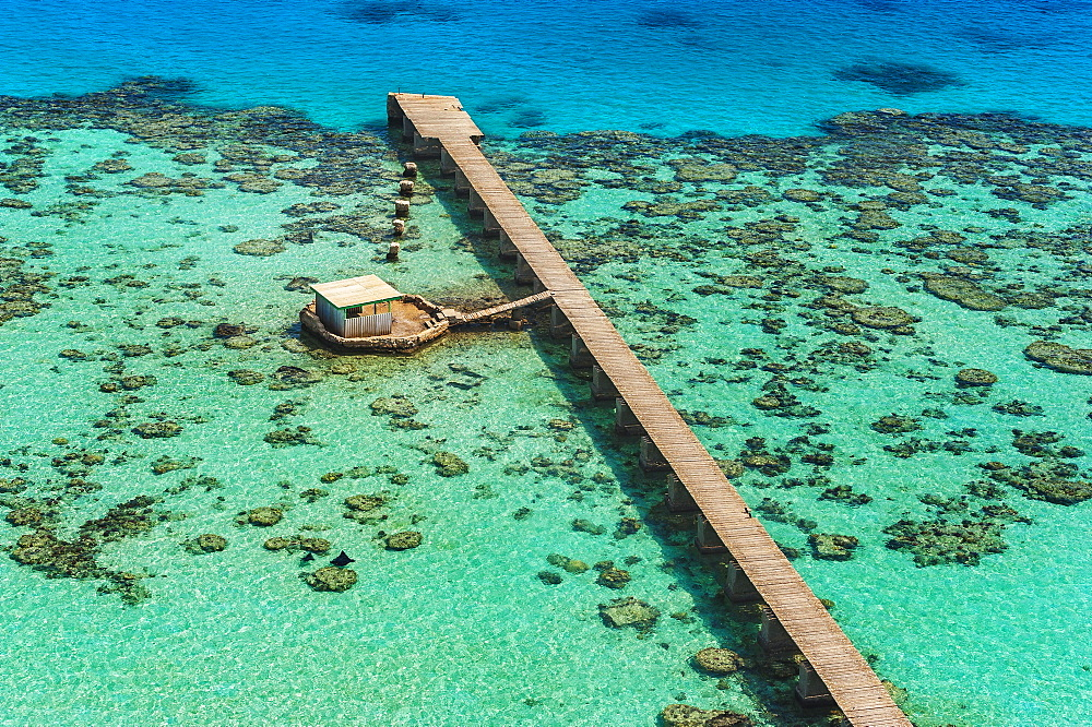 Jetty at the lighthouse on the Sanganeb Atoll, Marine Reserve Bur Sudan, UNESCO World Heritage Site, Sudan, Africa