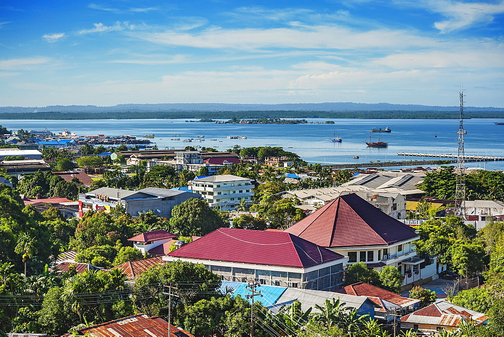 View of city with harbor, Sorong, West Papua, Western New Guinea, Indonesia, Asia