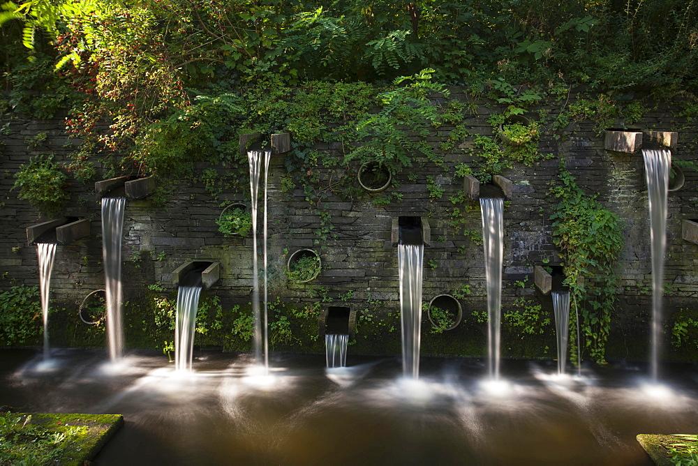 Fountains in the park Planten un Blomen, Hamburg, Germany, Europe