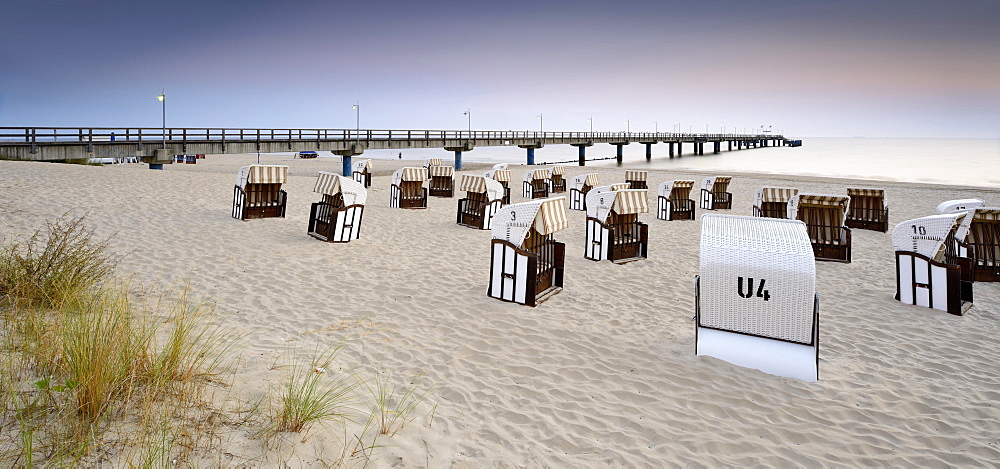 Pier and chairs on beach, morning light, Bansin, Usedom, Mecklenburg-Western Pomerania, Germany, Europe