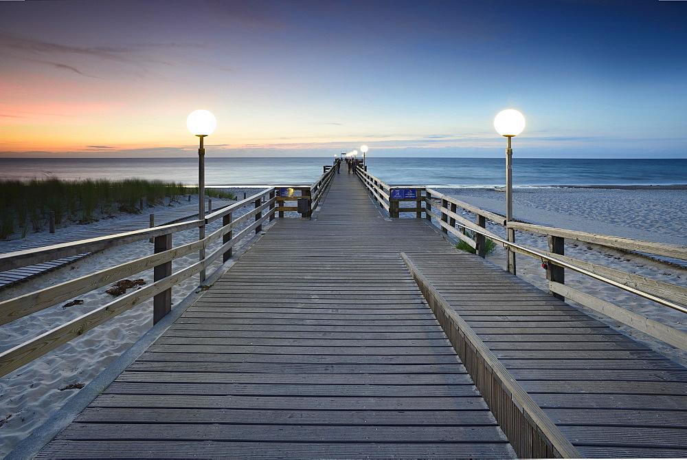 Pier on beach, sunset, Rerik, Mecklenburg-Western Pomerania, Germany, Europe