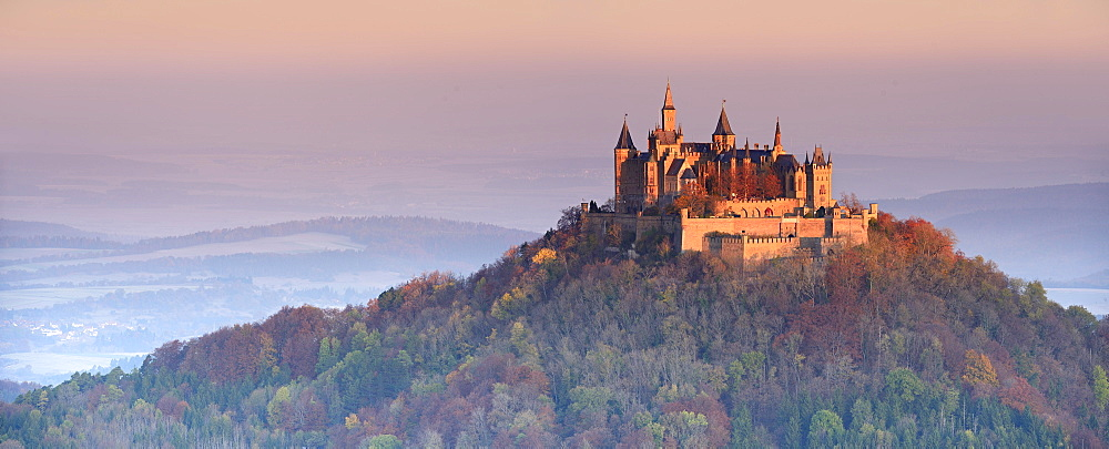 Hohenzollern castle in early morning light, autumn, Swabian Jura, Zollernalb, Hechingen, Baden-Württemberg, Germany, Europe