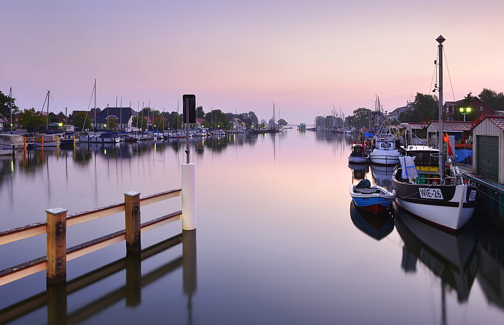 Morning atmosphere at the port of Wieck, River Ryck, behind the mouth in the Bay of Greifswald, Greifswald, Mecklenburg-Western Pomerania, Germany, Europe