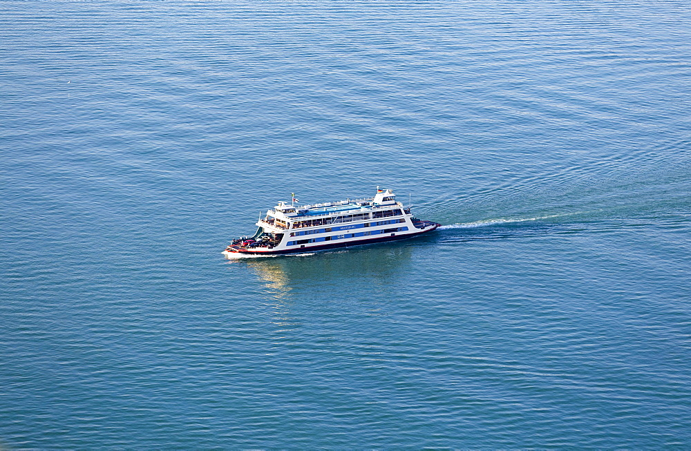 Aerial view, Meersburg ferry, Lake Constance, Baden-Württemberg, Germany, Europe