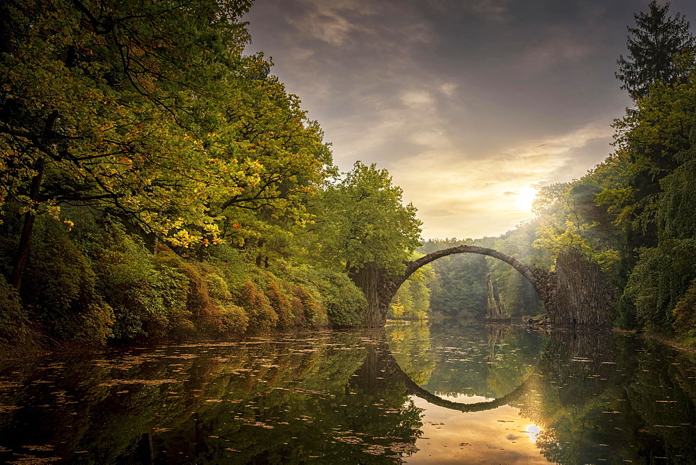 Rakotzbrucke or Teufelsbrucke, bridge in Kromlauer Park, Kromlau, Saxony, Germany, Europe