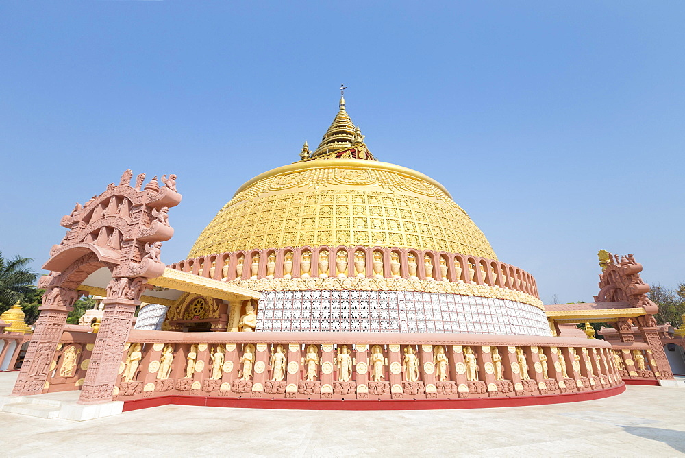 Golden stupa, Sitagu International Buddhist Academy, Sagaing near Mandalay, Myanmar, Asia