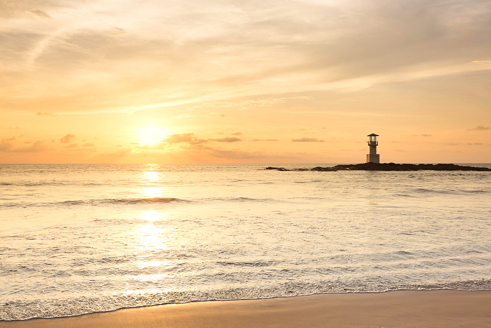 Lighthouse on Khao Lak beach at sunset, Khao Lak National Park, Thailand, Asia