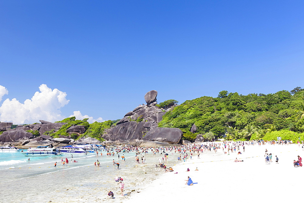 Bathing beach and sail rock, Ko Similan, Mu Ko Similan National Park, Similan Islands, Phang Nga province, Thailand, Asia