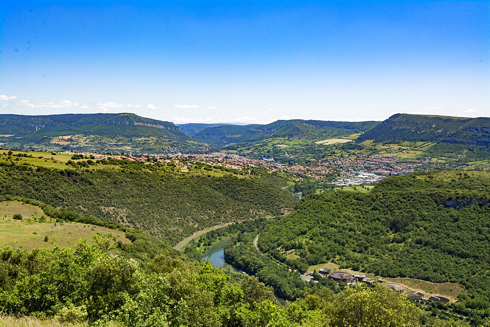 View of Millay city and river Lot, Aveyron, France, Europe