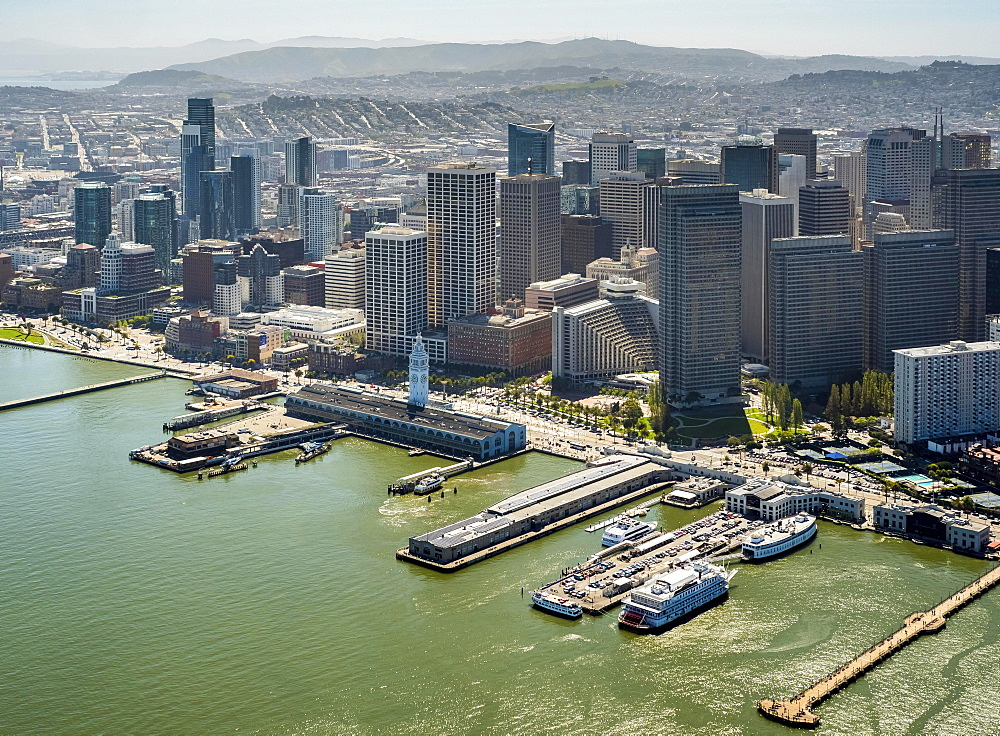 Aerial view of San Francisco Downtown with its piers as seen from the water, San Francisco, San Francisco Bay Area, California, USA, North America