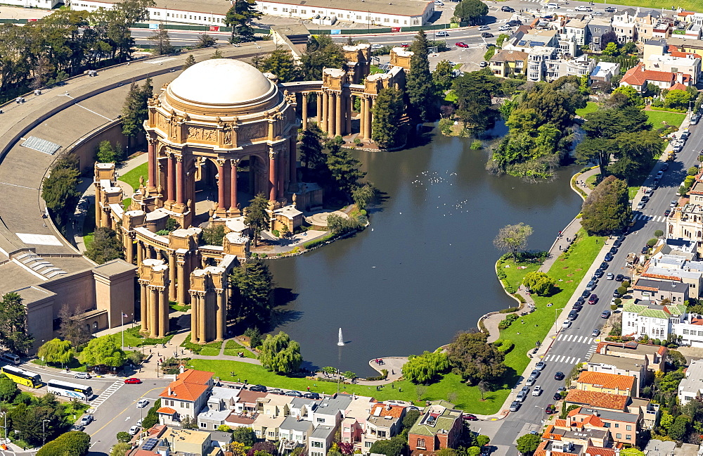 Aerial view, Palace of Fine Arts, Theater, Presidio, San Francisco, San Francisco Bay Area, California, USA, North America