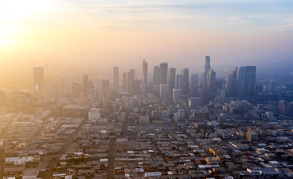 Skyscrapers of downtown Los Angeles in haze, smog, Los Angeles, Los Angeles County, California, USA, North America