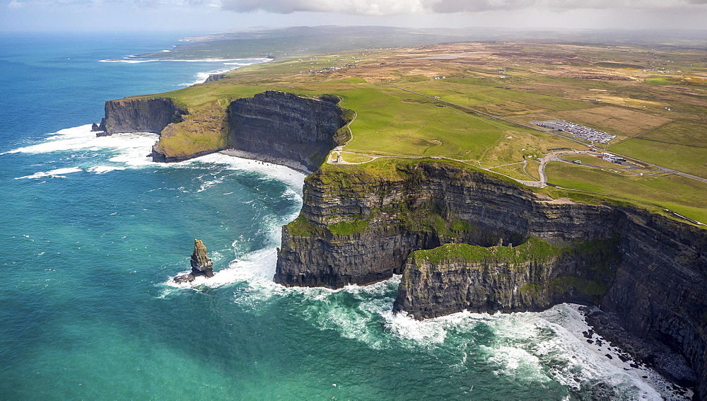 Cliffs of Moher, O'Brian's Tower, Lookout Tower on the Cliffs of Moher, rocky coastline, cliffs, County Clare, Ireland, Europe