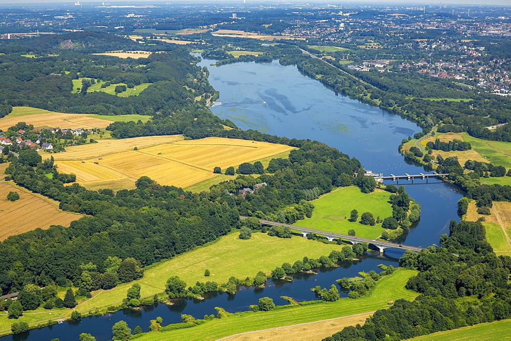 Aerial view, Kemnader Reservoir, dam, Ruhr Valley,  North Rhine-Westphalia, Germany, Europe