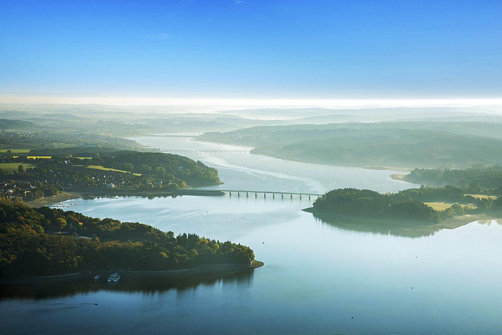 View of Möhnesee, morning mist, Sauerland, North Rhine-Westphalia, Germany, Europe