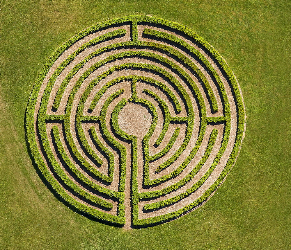 Labyrinth in meadow, hedge maze, Winterberg, Sauerland, North Rhine-Westphalia, Germany, Europe