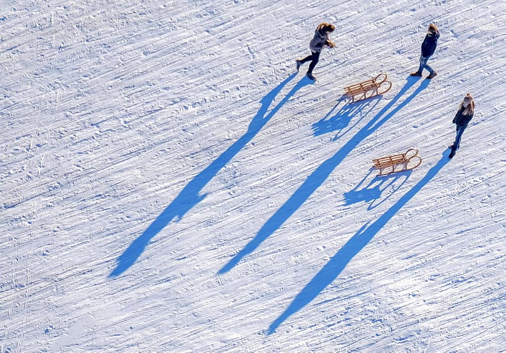 Sledders near Monastery Oelinghausen, snow, sled, Arnsberg, Neheim-Hüsten, Sauerland, North Rhine-Westphalia, Germany, Europe