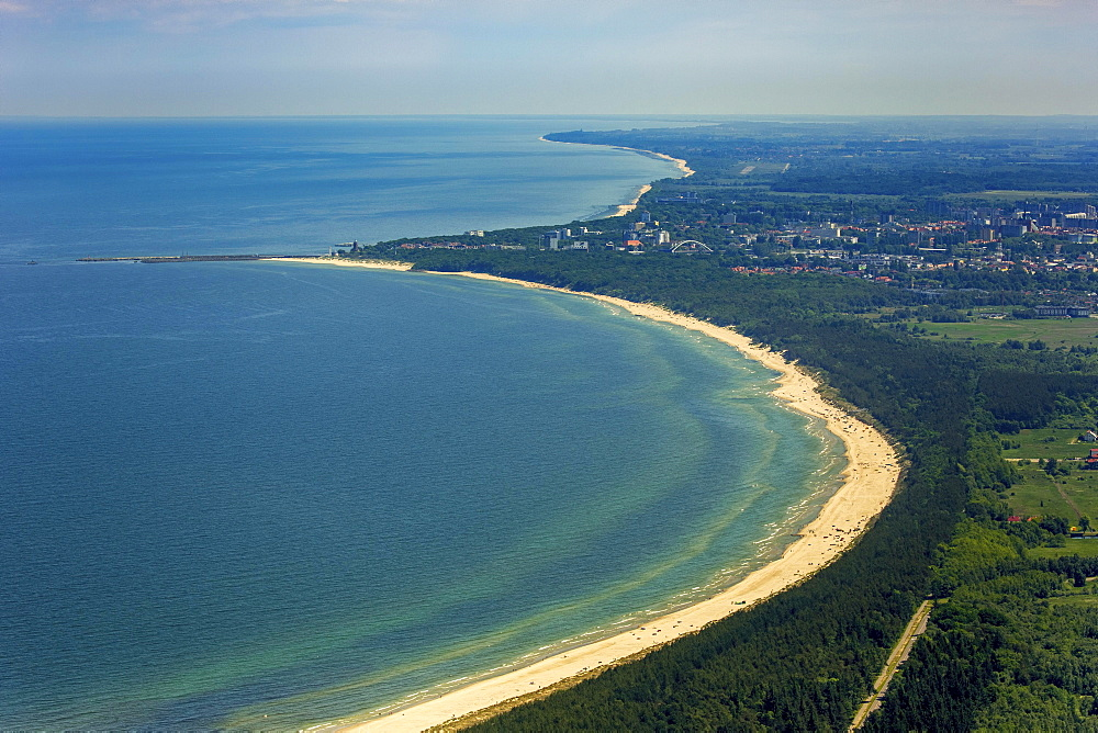 Baltic beach, at back Ko?obrzeg, Kolberg, Baltic coast, province, Western Pomerania Province, Poland, Europe