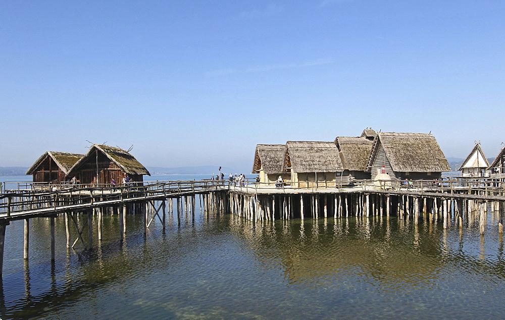 Stilt houses, Pfahlbaumuseum Unteruhldingen, Museum, Lake Constance, Baden-Wurttemberg, Germany, Europe