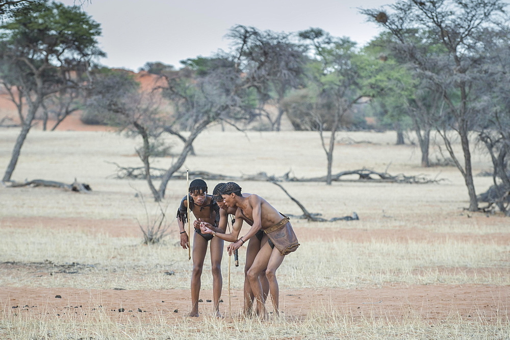 Kung Bushmen are following an animal trail, Zebra Lodge, Hardap Region, Namibia!