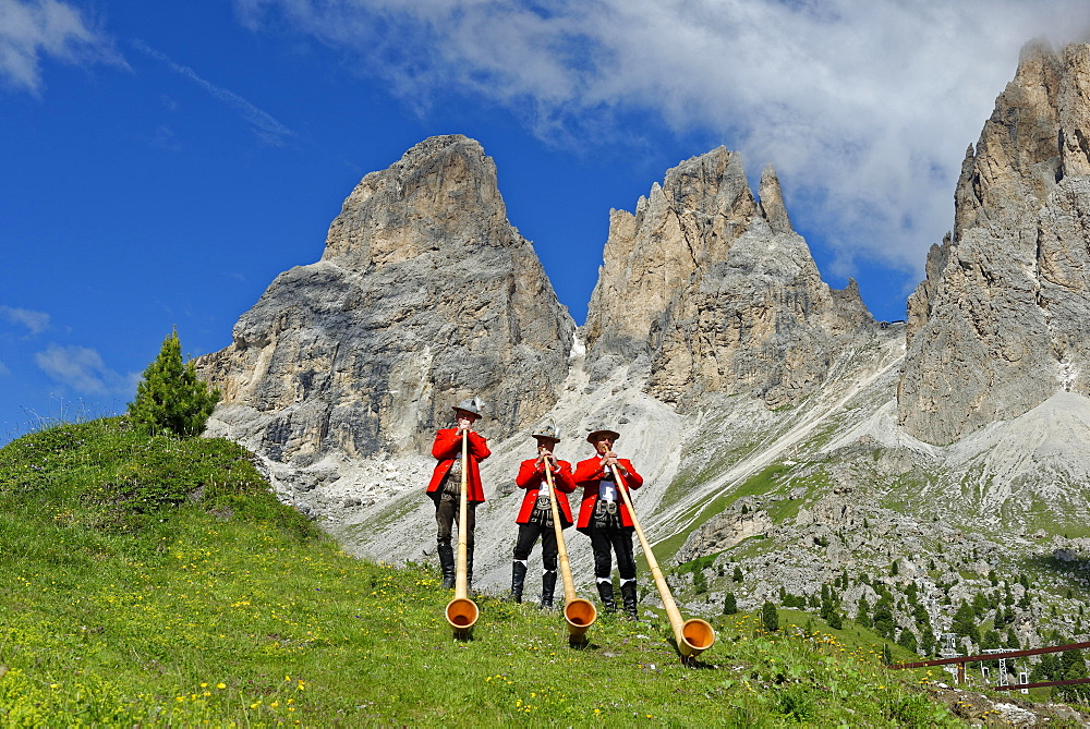 Alphorn players in front of mountains Langkofel and Plattkofel, local costume group, Fest zur ladinischen Einheit 1946, Sella, Dolomites, South Tyrol, Italy, Europe