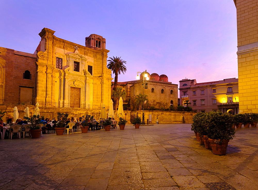 Piazza Bellini in the dusk, rear church of San Cataldo, Palermo, Sicily, Italy, Europe