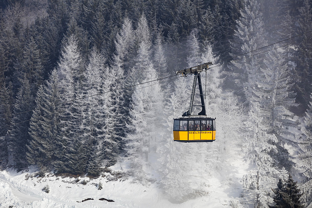 Nebelhornbahn in winter, cableway, Oberstdorf, Allgäu, Bavaria, Germany, Europe