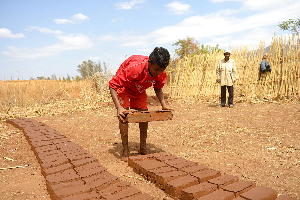 Teenager manufacturing bricks, Analakely village, Tanambao commune, Tsiroanomandidy district, Bongolava region, Madagascar, Africa