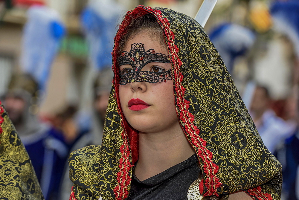 Woman in historic clothes, Moors and Christians Parade, Moros y Cristianos, Jijona or Xixona, Province of Alicante, Costa Blanca, Spain, Europe