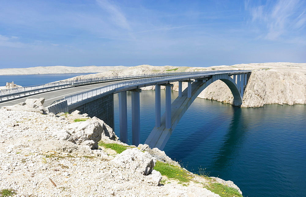Pag Bridge, Pag Island, Northern Dalmatia, Zadar County, Croatia, Europe