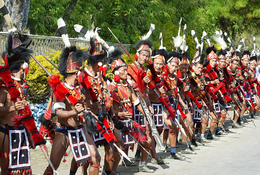 Naga tribal group performers standing in line to welcome Officials at the Hornbill Festival, Kohima, Nagaland, India, Asia