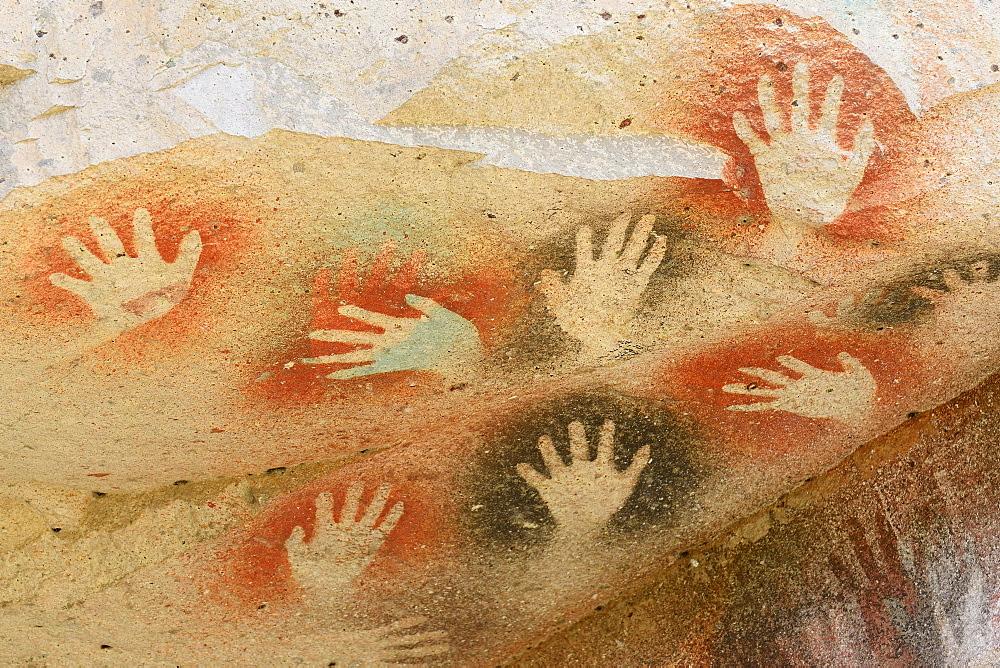 Cave paintings in the Cave of Hands, Cueva de las Manos, UNESCO World Heritage Site, Santa Cruz Province, Argentina, South America