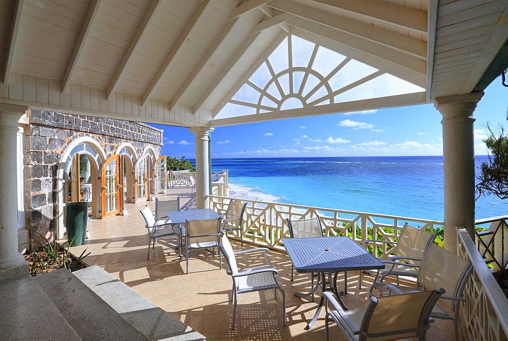 Panoramic terrace overlooking the Atlantic Ocean, Crane Beach Resort, Barbados, Lesser Antilles, Caribbean, West Indies, Central America