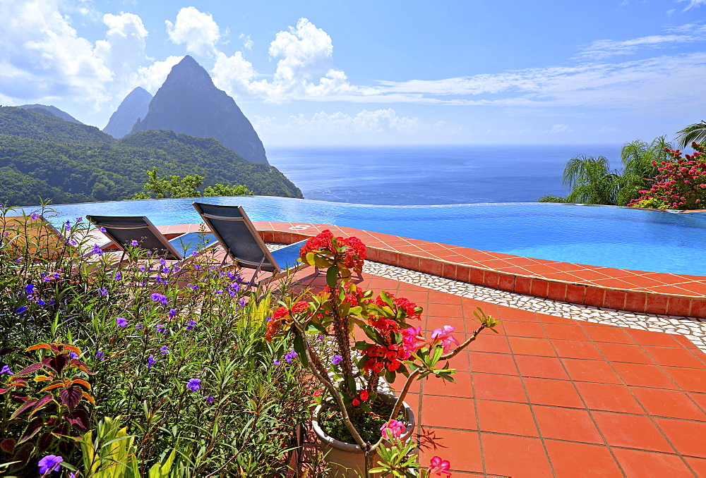 Terrace with swimming pool of the La Haut Resort with views of the two Pitons, Gros Piton 770m and Petit Piton 743m, Soufriere, St. Lucia, Lesser Antilles, West Indies, Caribbean Sea