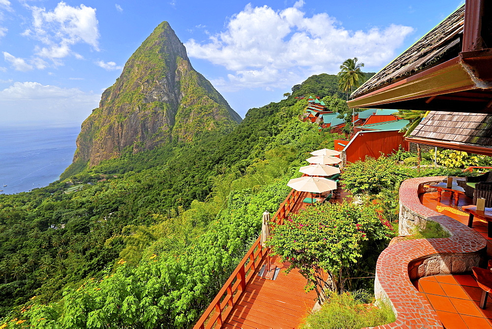 Terrace and complex of the Ladera Resort with the Petit Piton 743m, Soufriere, St. Lucia, Lesser Antilles, West Indies, Caribbean Islands