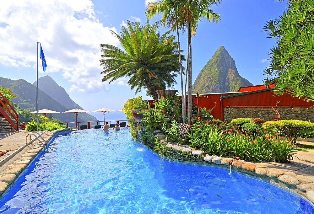 Ladera Resort's swimming pool with views of the two Pitons, Gros Piton 770m and Petit Piton 743m, Soufriere, St. Lucia, Lesser Antilles, West Indies, Caribbean Islands