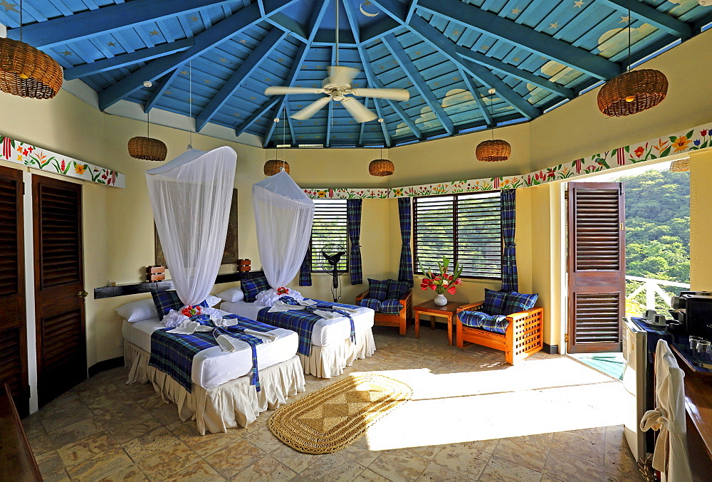 Hotel room of the Anse Chastenet Hotel, Soufriere, St. Lucia, Lesser Antilles, West Indies, Caribbean Islands