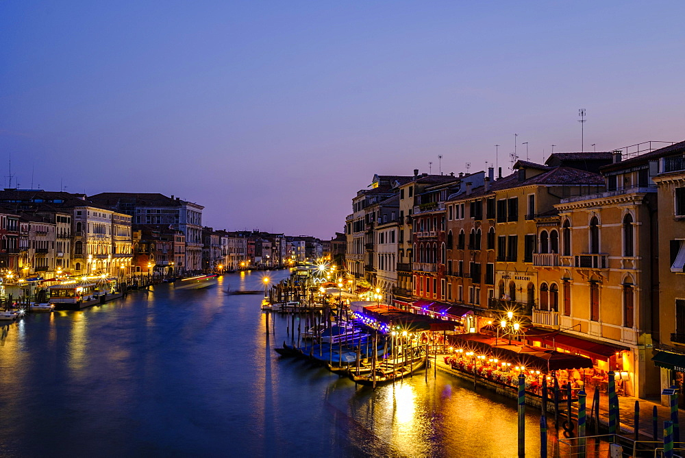 Canal Grande in the evening light, view from Rialto bridge, Venice, Veneto, Italy, Europe