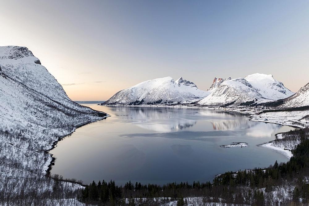 Norwegian fjord at dusk, Bergspoten, Senja, Norway, Europe